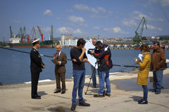 Bo TV-utsändning från port Varna Fotografering för Bildbyråer
