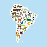 Boa αρμαδίλων σφραγίδων γουνών ροπάλων λάμα νωθρότητας της Νότιας Αμερικής anteater toucan manatee πιθήκων maca υάκινθων ιαγουάρω διανυσματική απεικόνιση