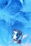 Boa azul glamoroso do diamante e de pena Fotos de Stock Royalty Free