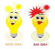 Boa e idéia ruim ilustração do vetor