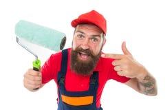 Boa escolha Trabalhador farpado do homem que repara na oficina Reparo e renova??o Pontas do reparo Arquiteto do coordenador guy imagem de stock royalty free