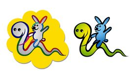 Boa and rabbit stock images