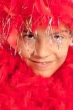 Boa rosso teenager Immagini Stock Libere da Diritti