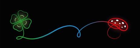 A boa sorte encanta o fundo preto folheado quatro do cogumelo venenoso do trevo ilustração do vetor