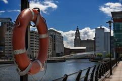 Boa sul lato del bacino di Liverpool Immagini Stock