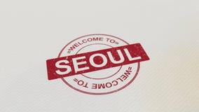 BOA VINDA à cópia vermelha do selo de SEOUL no papel rendição 3d Fotografia de Stock