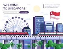Boa vinda à ilustração do vetor de Singapura Imagens de Stock