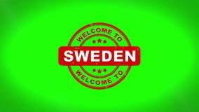 A boa vinda à Suécia assinou o carimbo da animação de madeira do selo do texto ilustração stock