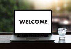 Boa vinda aberta do negócio BEM-VINDO de uma comunicação do conceito à equipe Fotos de Stock Royalty Free