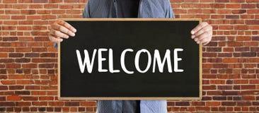 Boa vinda aberta do negócio BEM-VINDO de uma comunicação do conceito à equipe Imagem de Stock