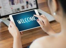 Boa vinda aberta do negócio BEM-VINDO de uma comunicação do conceito à equipe Foto de Stock Royalty Free