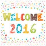 Boa vinda 2016 Ano novo feliz Cartão bonito Imagens de Stock Royalty Free