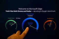 Boa vinda ao botão do tela táctil da borda de microsoft Imagem de Stock Royalty Free