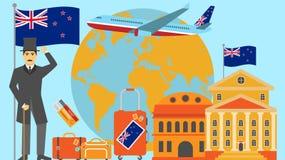 Boa vinda ao cartão de Nova Zelândia Conceito do curso e do safari da ilustração do vetor do mapa do mundo de Europa com bandeira ilustração do vetor