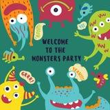 Boa vinda ao cartão do partido do monstro invitation ilustração stock