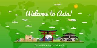 Boa vinda ao cartaz de Ásia com atrações famosas Foto de Stock Royalty Free