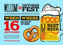 Boa vinda ao cartaz de Oktoberfest Foto de Stock Royalty Free