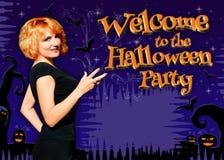 Boa vinda ao cartaz do partido de Dia das Bruxas Imagem de Stock