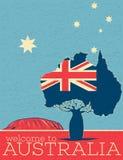 Boa vinda ao cartaz do vintage de Austrália ilustração stock