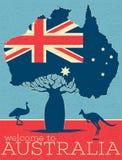 Boa vinda ao cartaz do vintage de Austrália ilustração royalty free
