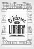 A boa vinda ao conceito do cartaz ou do cartão da biblioteca com esboço registra nas prateleiras Foto de Stock