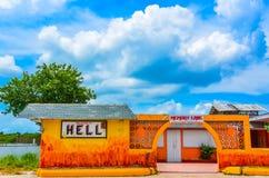 Boa vinda ao inferno - Grande Caimão imagens de stock