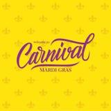 Boa vinda ao molde caligráfico do cartão do projeto de rotulação de Mardi Gras Carnival ilustração do vetor
