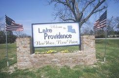 Boa vinda ao providência do lago, Louisiana onde uma voz nova pode ser ouvida Foto de Stock Royalty Free
