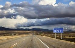 Boa vinda ao sinal da estrada de Idaho Imagens de Stock