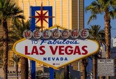 Boa vinda ao sinal de Las Vegas em Las Vegas Boulevard - LAS VEGAS - NEVADA - 12 de outubro de 2017 Imagens de Stock Royalty Free