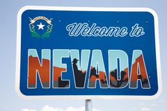 Boa vinda ao sinal de Nevada Fotografia de Stock