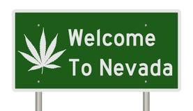 Boa vinda ao sinal de Nevada com folha da marijuana Imagens de Stock Royalty Free