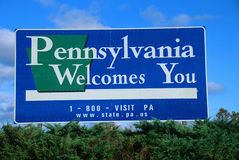 Boa vinda ao sinal de Pensilvânia Fotografia de Stock Royalty Free