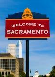Boa vinda ao sinal de Sacramento Fotografia de Stock