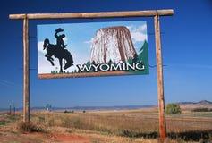 Boa vinda ao sinal de Wyoming fotos de stock