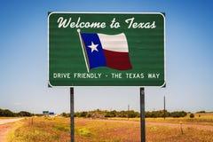 Boa vinda ao sinal do estado de Texas foto de stock