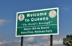 Boa vinda ao sinal do Queens - New York Imagem de Stock