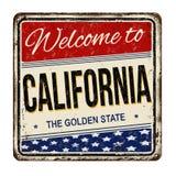 Boa vinda ao sinal oxidado do metal do vintage de Califórnia ilustração stock