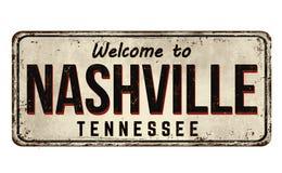 Boa vinda ao sinal oxidado do metal do vintage de Nashville ilustração do vetor