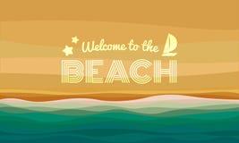 A boa vinda ao texto da praia no vetor abstrato do fundo das ondas da areia e de água projeta ilustração stock