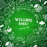 Boa vinda aos assuntos de escola do desenho a mão livre da escola Foto de Stock