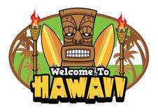 Boa vinda aos cumprimentos do tiki de Havaí Fotografia de Stock Royalty Free
