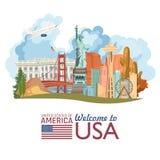 Boa vinda aos EUA Cartaz do Estados Unidos da América com estátua da liberdade e bandeira dos E.U. Ilustração do vetor sobre o cu ilustração royalty free
