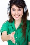 Boa vinda asiática bonita do trabalhador você Imagens de Stock Royalty Free