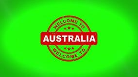A boa vinda a AUSTRÁLIA assinou o carimbo da animação de madeira do selo do texto ilustração royalty free
