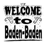 Boa vinda a Baden-Baden Germany - grande rotulação da mão ilustração do vetor