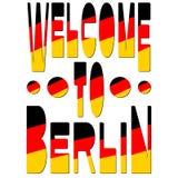 Boa vinda a Berlim - inscrição nas cores da bandeira alemão ilustração stock