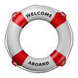 Boa vinda a bordo do boia salva-vidas isolado no branco Ilustração Royalty Free