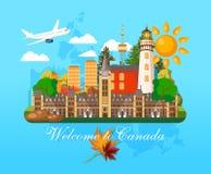 Boa vinda a Canadá postcard Ilustração canadense do vetor Estilo retro Cartão do curso ilustração do vetor