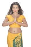 Boa vinda cingalesa da mão das mulheres Fotos de Stock Royalty Free